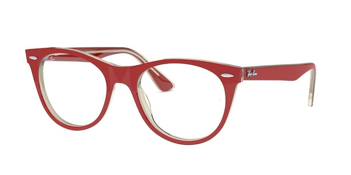 Ray-Ban RX2185V 5987 Red on Top Transparent Grey