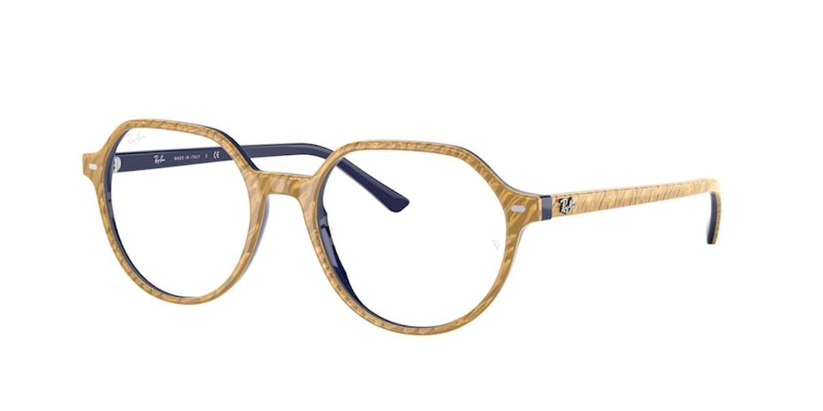 Ray-Ban RX5395 8051 Wrinkled Beige on Blue